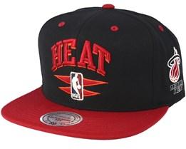 Miami Heat Double Diamond Black Snapback - Mitchell & Ness