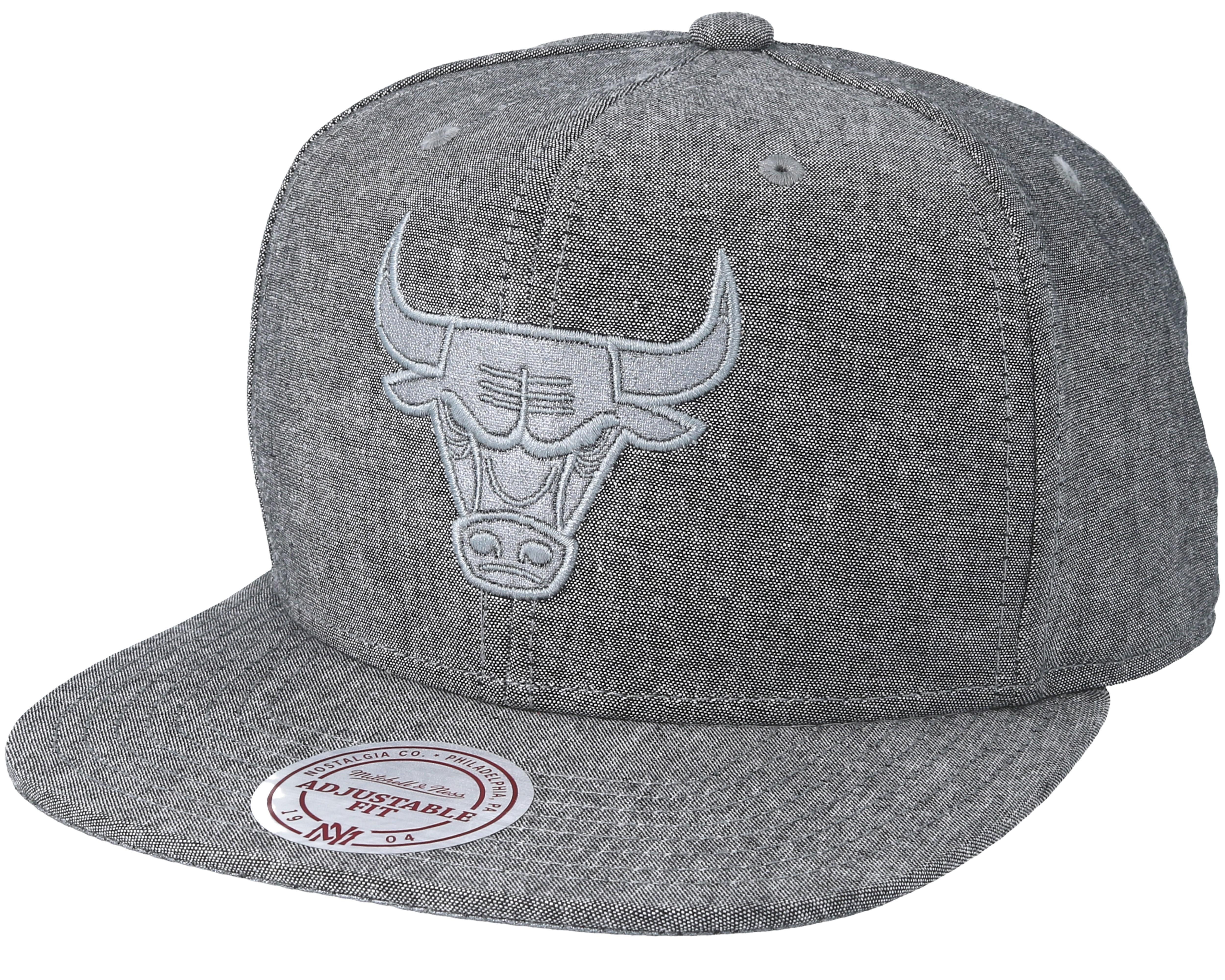 d267edb2786 Produktbeskrivelse Chicago Bulls Italian Washed Grey Snapback - Mitchell    Ness