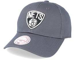 Brooklyn Nets Team Logo Pro Strapback Charcoal Adjustable - Mitchell & Ness