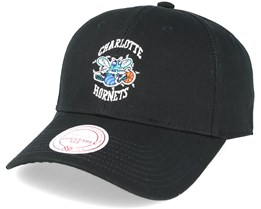 Charlotte Hornets Low Pro Strapback Black Adjustable - Mitchell & Ness