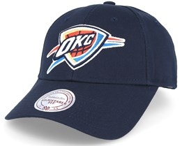 Oklahoma City Thunder Team Logo Low Pro Strapback Navy Adjustable - Mitchell & Ness