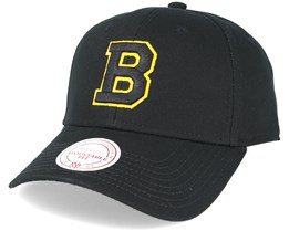 Boston Bruins Team Logo Low Pro Strapback Black Adjustable - Mitchell & Ness