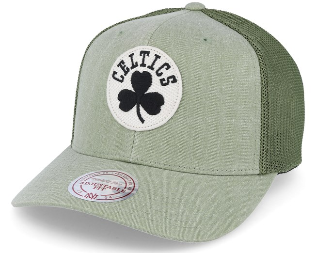 ea12672311a Boston Celtics Washout 110 Flexfit Olive trucker Adjustable - Mitchell    Ness