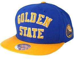 Golden State Warriors Wordmark Blue Snapback - Mitchell & Ness