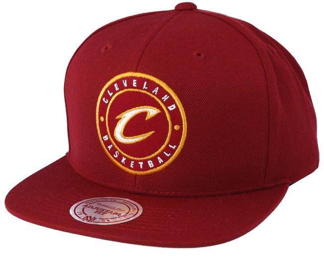 17e9c42051b Cleveland Cavaliers Twill Circle Burgundy Snapback - Mitchell   Ness caps
