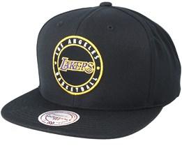 LA Lakers Twill Circle Black Snapback - Mitchell & Ness