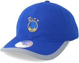 Golden State Warriors Running Reflective Trim Slouch Blue Adjustable - Mitchell & Ness