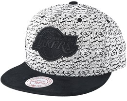 Los Angeles Lakers Three 50 White/Black Snapback - Mitchell & Ness