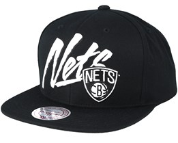 Brooklyn Nets Vice Script Solid Black Snapback - Mitchell & Ness