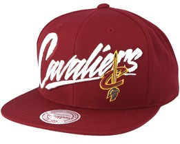 Cleveland Cavaliers Vice Script Solid Burgundy Snapback - Mitchell & Ness