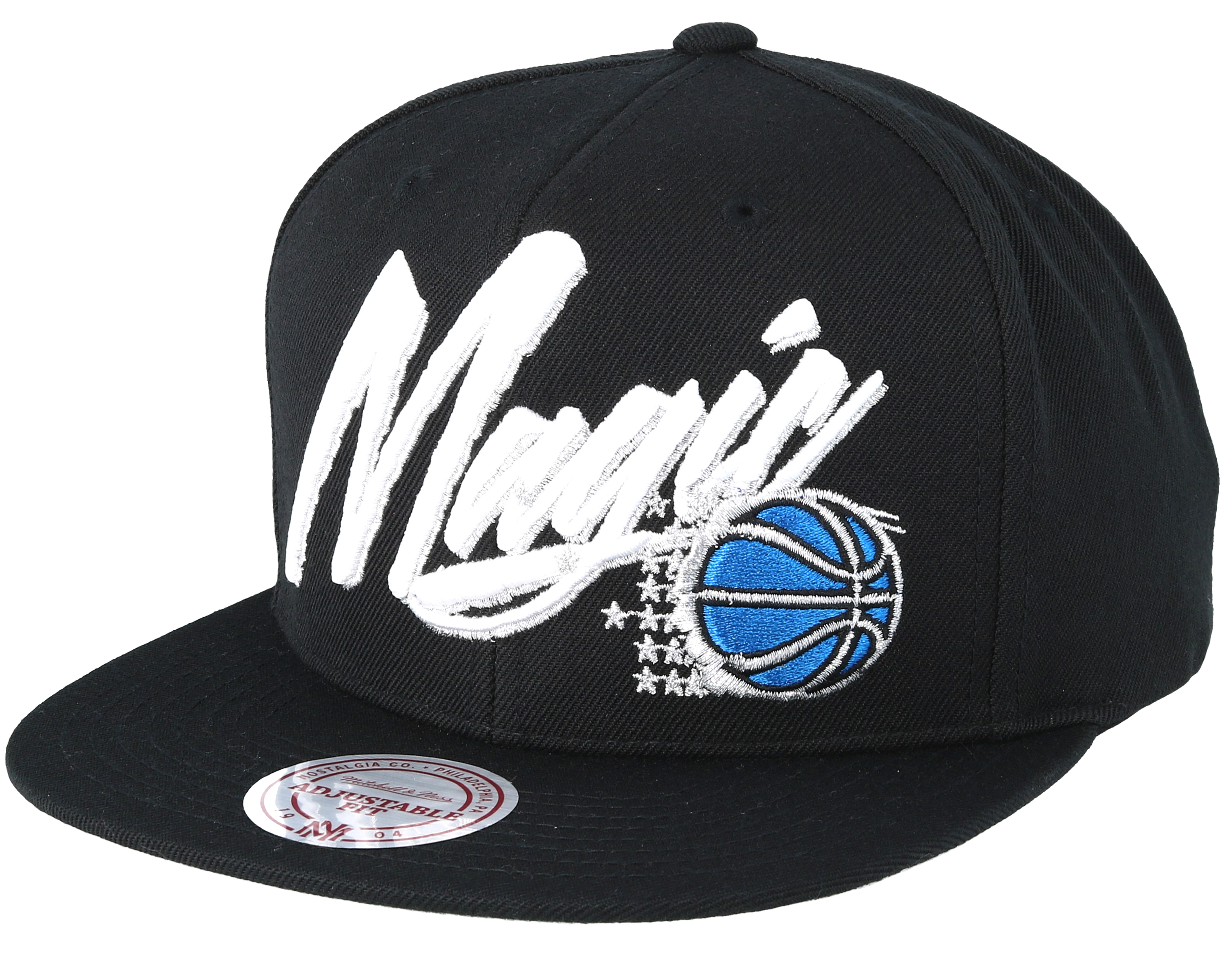best service cecf8 0e9db Orlando Magic Vice Script Solid Black Snapback - Mitchell   Ness
