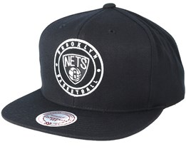 Brooklyn Nets Circle Patch Team Black Snapback - Mitchell & Ness