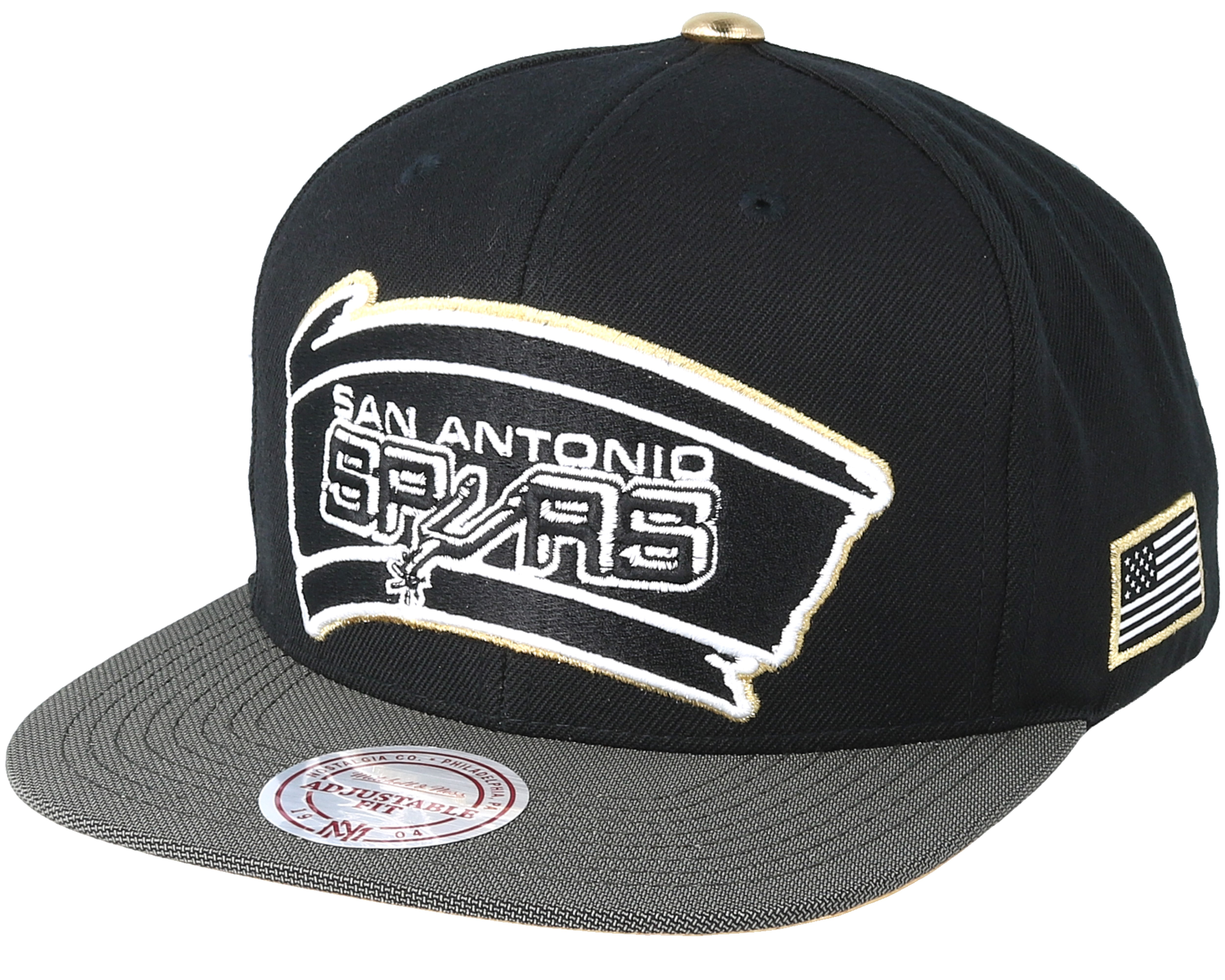 San Antonio Spurs Gold Tip Black Snapback - Mitchell   Ness caps ... 28cebf781fe