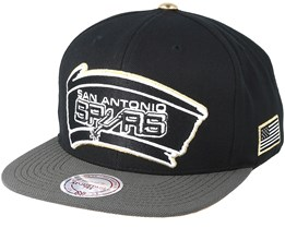 San Antonio Spurs Gold Tip Black Snapback - Mitchell & Ness