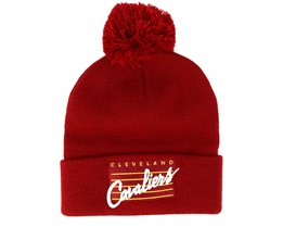 Cleveland Cavaliers Cursive Script Knit Burgundy Pom - Mitchell & Ness