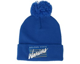 Golden State Warriors Cursive Script Knit Royal Pom - Mitchell & Ness