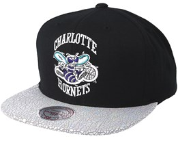 Charlotte Hornets Cracked Iridescent Black Snapback - Mitchell & Ness