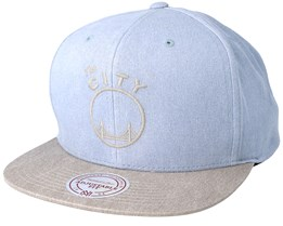 Golden State Warriors Washed Twill 2 Tone Grey Snapback - Mitchell & Ness