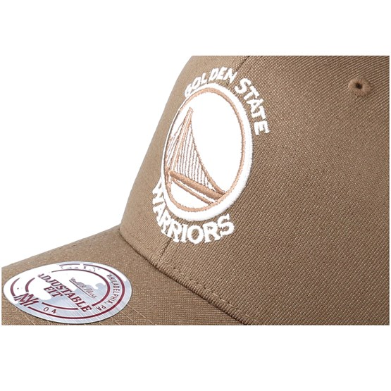 d9682648b20 Golden State Warriors Flexfit 110 Camel Adjustable - Mitchell   Ness caps
