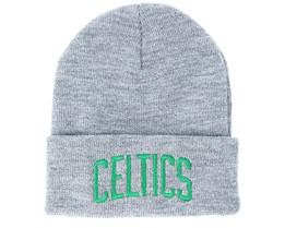 Boston Celtics Team Logo Knit Heather Grey Cuff - Mitchell & Ness