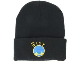 Golden State Warriors Team Logo Knit Black Cuff - Mitchell & Ness