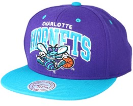 Charlotte Hornets Team Arch Purple Snapback - Mitchell & Ness