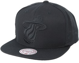Miami Heat Tonal Short Hook Black Snapback - Mitchell & Ness