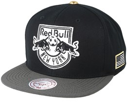 New York Red Bull Gold Tip Black Snapback - Mitchell & Ness