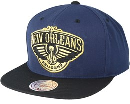 New Orleans Pelicans Black & Gold Metallic Navy Snapback - Mitchell & Ness