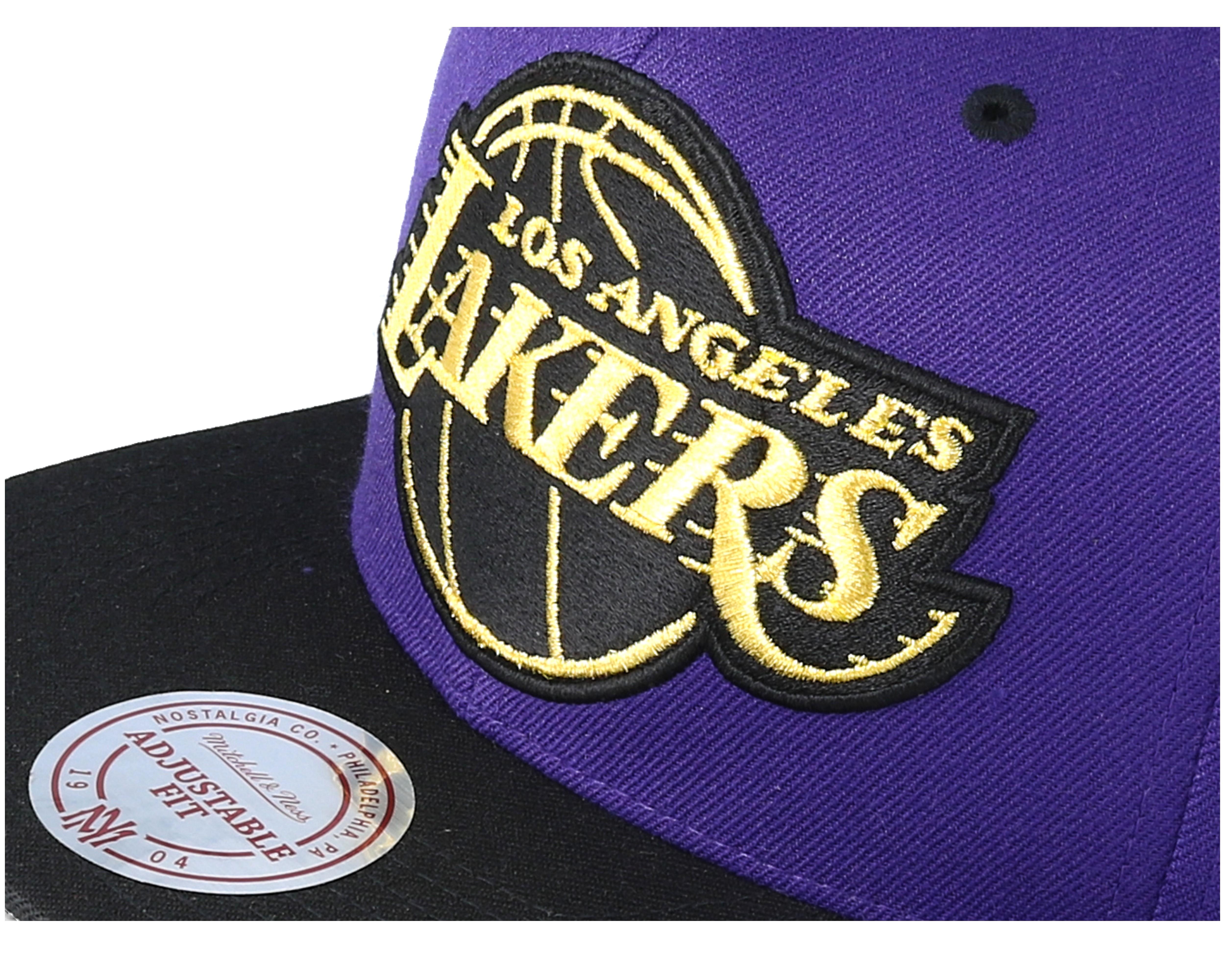 Los Angeles Lakers Black Gold Metallic Purple Snapback Mitchell Ness Hatstore Co Uk