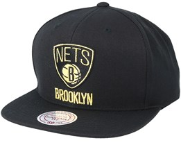 Brooklyn Nets Black & Gold Metallic Black Snapback - Mitchell & Ness