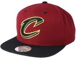 Cleveland Cavaliers Black & Gold Metallic Maroon Snapback - Mitchell & Ness