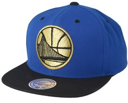 Golden State Warriors Black & Gold Metallic Blue Snapback - Mitchell & Ness