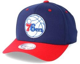 Philadelphia 76ers Team Logo 2-Tone Navy/Red Adjustable - Mitchell & Ness