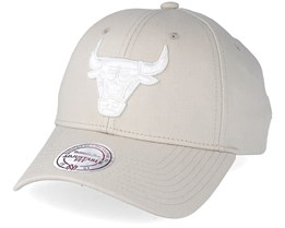 Chicago Bulls Team Logo Low Profile Oyster Grey Adjustable - Mitchell & Ness