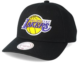 LA Lakers Team Logo Low Profile Black Snapback - Mitchell & Ness
