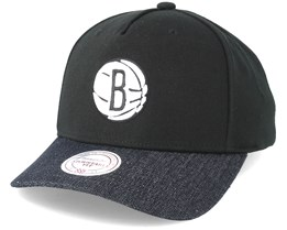 Brooklyn Nets Denim Visor Black Adjustable - Mitchell & Ness