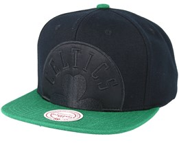 Boston Celtics Cropped Satin Black Snapback - Mitchell & Ness