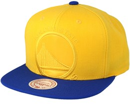 Golden State Warriors Cropped Satin Blue/Yellow Snapback - Mitchell & Ness