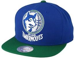 Minnesota Timberwolves XL Logo 2 Tone Blue/Green Snapback - Mitchell & Ness