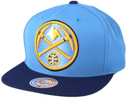 Denver Nuggets XL Logo 2 Tone Dark Navy/Blue Snapback - Mitchell & Ness