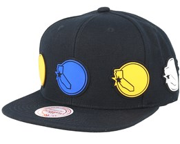 Golden State Warriors Multi Logo Black Snapback - Mitchell & Ness
