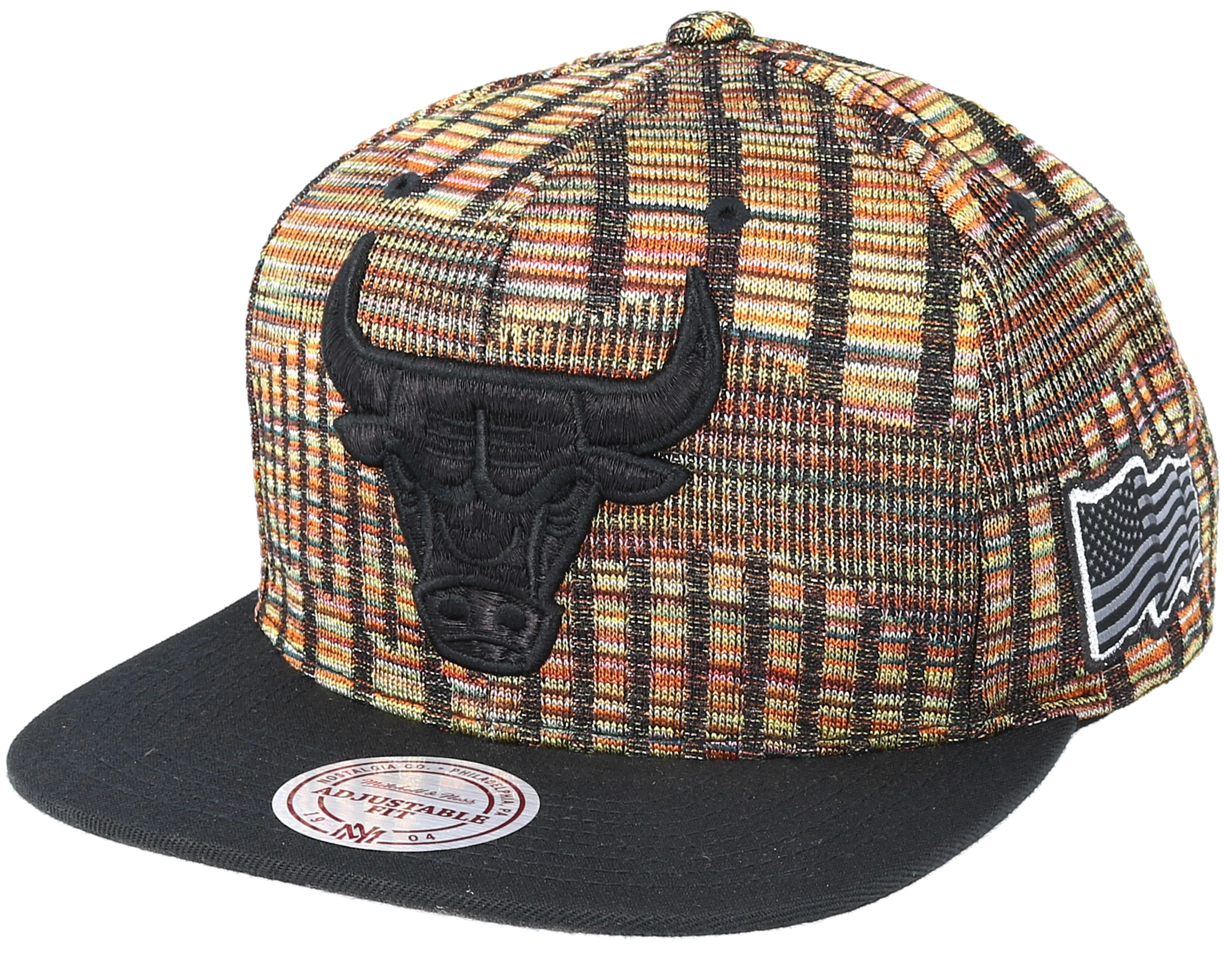 Chicago Bulls Black FLag Snapback - Mitchell   Ness caps  0e497d43942