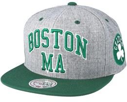 Boston Celtics Side Panel Cropped Grey Snapback - Mitchell & Ness