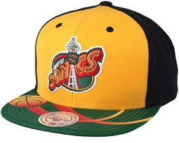 Seattle Supersonics Team Sublimated Yellow/Black Snapback - Mitchell & Ness