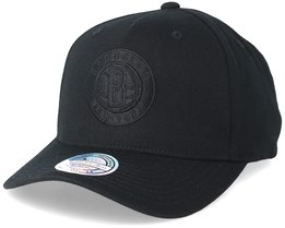 Brooklyn Nets Curved Black/Black 110 Adjustable - Mitchell & Ness