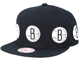 Brooklyn Nets Multi Logo Black Snapback - Mitchell & Ness