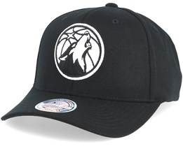 Minnesota Timberwolves Black & White 110 Adjustable - Mitchell & Ness