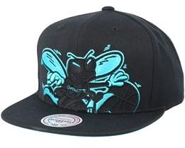 Charlotte Hornets Cropped Xl Black Snapback - Mitchell & Ness