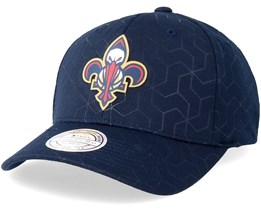 New Orleans Pelicans Debossed Stretch Current 110 Navy Adjustable - Mitchell & Ness